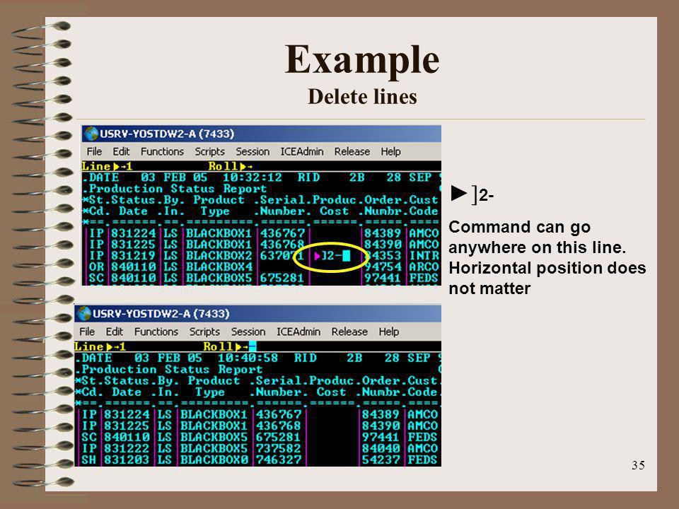 Example Delete lines ►]2-